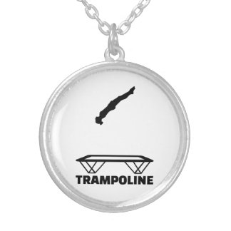 Trampoline trampolinist silver plated necklace