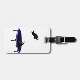 trampolining badgers luggage tag