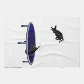 trampolining badgers tea towel