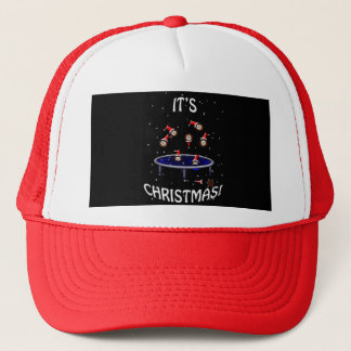 trampolining christmas hedgehogs having fun trucker hat