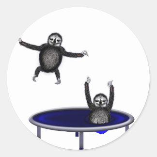 trampolining sloths round sticker