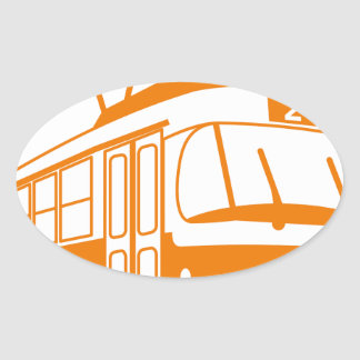 Tramway transportation electric oval sticker
