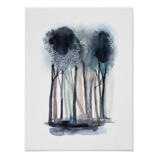 Tranquil Abstract Trees Poster