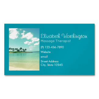 Tranquil and Serene Turquoise Beach in Hawaii Magnetic Business Card