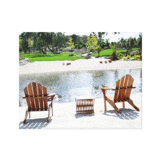 Tranquil Beach Chairs photo Canvas Print