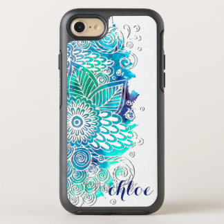 Tranquil Blue and Teal Floral Mandala Design OtterBox Symmetry iPhone 8/7 Case