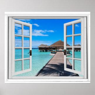 Tranquil Boardwalk Pier Ocean Fake Window View Poster