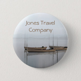 Tranquil boats in a still bay travel company 6 cm round badge