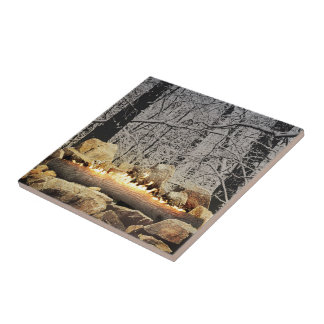 Tranquil Burning Yule Log in a Snowy Forest Small Square Tile