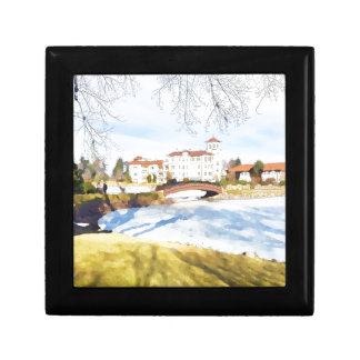 Tranquil hotel scene on lake gift box