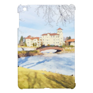 Tranquil hotel scene on lake iPad mini cover