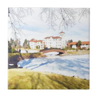 Tranquil hotel scene on lake tile