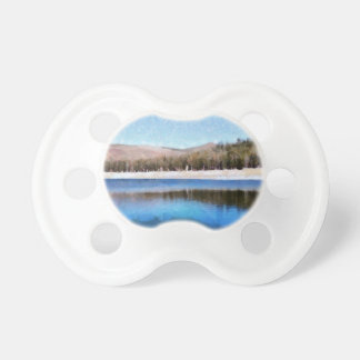 Tranquil lake and wonderful scenery baby pacifier