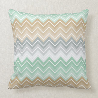 Tranquil Mint Chevron Zigzag Pattern Cushion