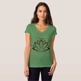 Tranquil Moments (TM) V-neck green lotus shirt