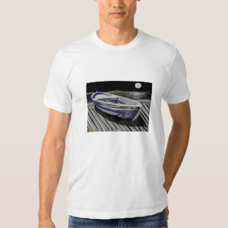 tranquil moonlight  boat  scene t shirts