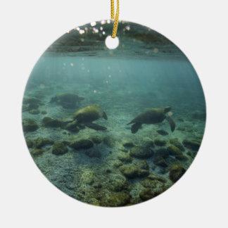 Tranquil ocean sea turtles underwater Galapagos Ceramic Ornament