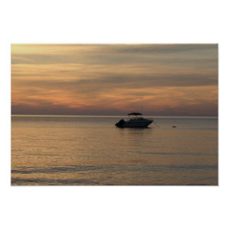 Tranquil Scene with a Boat on the Ocean Poster