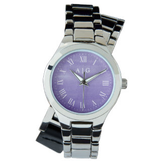 Tranquil Watercolor Purple Custom Initials Watch