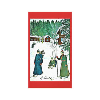 Tranquil Winter Scene vintage snow village canvas
