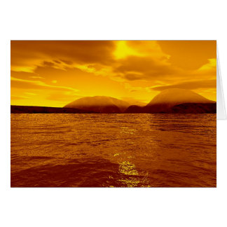 Tranquility Bay - Golden Sky Greeting Card