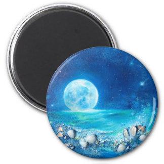 Tranquility, Full Moon, Meditation 6 Cm Round Magnet