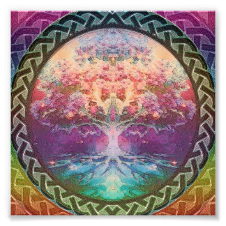 Tranquility Tree of Life in Rainbow Colors Photo Print