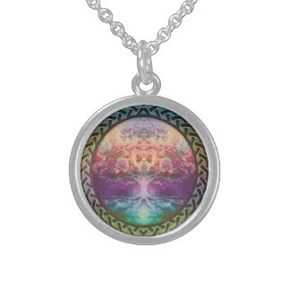 Tranquility Tree of Life in Rainbow Colors Round Pendant Necklace