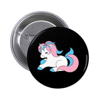 Trans unicorn 6 cm round badge
