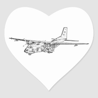 Transall C-160 military transport aircraft Heart Sticker