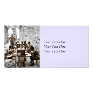 Transcription Machine Soldiers Personalized Photo Card