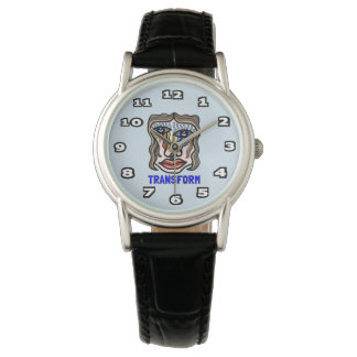 """Transform"" Womens Classic Black Leather Wristwatch"