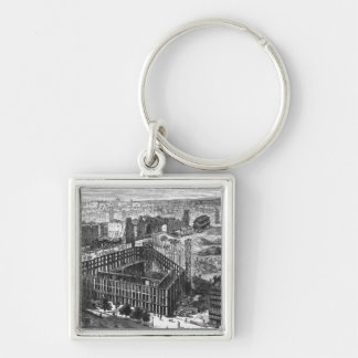 Transformation of Paris: Building in 1861 Silver-Colored Square Key Ring