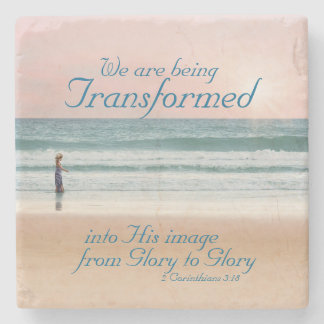 Transformed into His Image Bible, Girl on Beach Stone Coaster