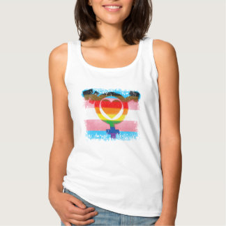 Transgender Flag with Trans Symbol and Heart Singlet
