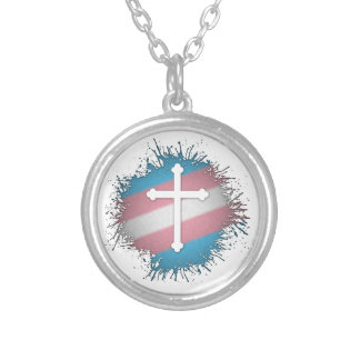 Transgender Pride Cross Silver Plated Necklace