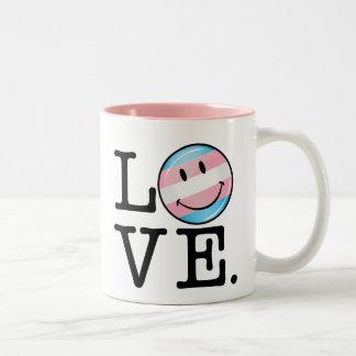 Transgender Pride Flag Love Two-Tone Coffee Mug