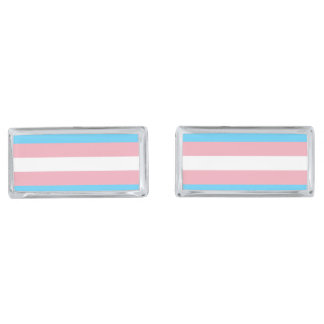 Transgender Pride Flag Silver Finish Cuff Links