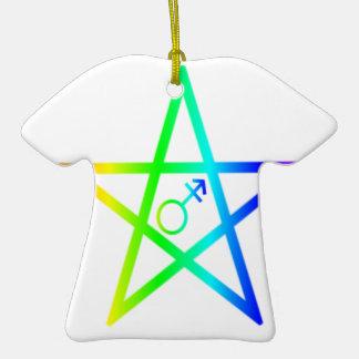 Transgender Rainbow Pentagram 2 Ceramic T-Shirt Decoration
