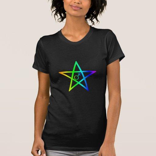 Transgender Rainbow Pentagram 2 T-shirts