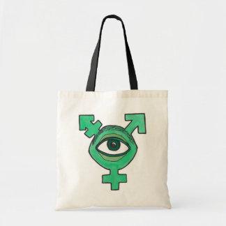 Transgender symbol green eyeball monster budget tote bag