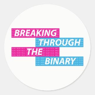 Transgender/Trans/FTM/MTF/Nonbinary Pride Code Classic Round Sticker