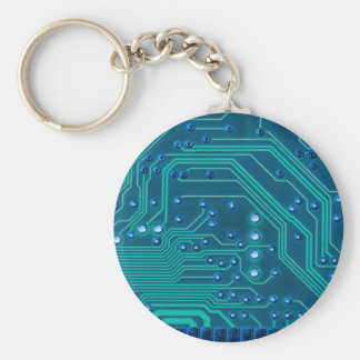 TRANSHUMANISM: Abstract BLUE circuit pattern. Key Ring