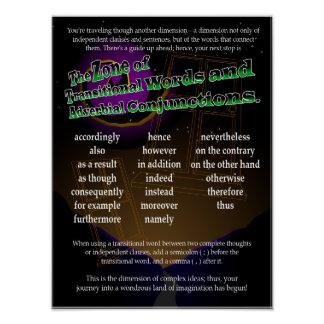 Transitional Words and Adverbial Conjunctions Poster