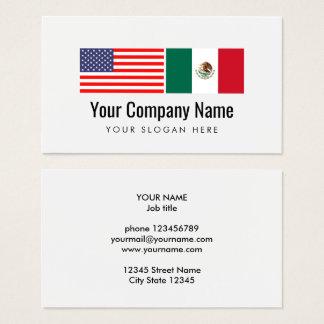 Translator Spanish English American Mexican flag Business Card