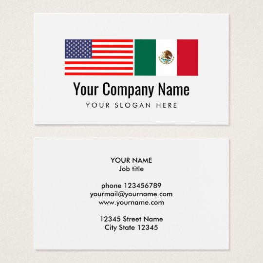 Translator Spanish English American Mexican flag Business Card