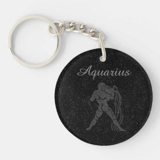 Translucent Aquarius Single-Sided Round Acrylic Key Ring