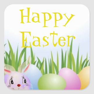 Translucent Easter Bunny Easter Egg Hunt Square Sticker