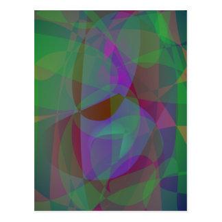 Translucent Layers Dark Green Abstract Postcard