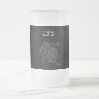 Translucent Leo Frosted Glass Beer Mug